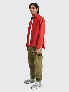 Stone Island Brushed Cotton Ripstop Pants Olive Green