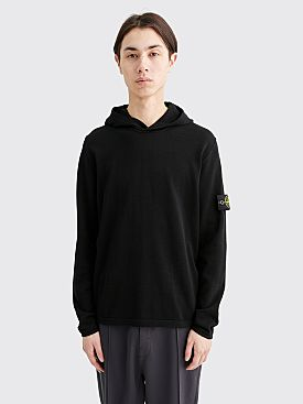 Stone Island Hooded Knit Sweatshirt Black