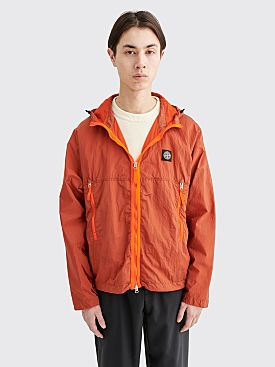 Stone Island Nylon Metal Watro Ripstop Hooded Jacket Orange Red