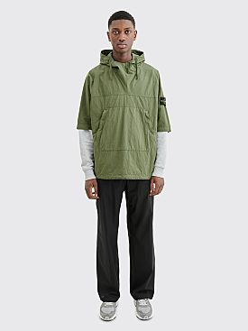 Stone Island Cotton Nylon Hooded Overshirt Olive Green