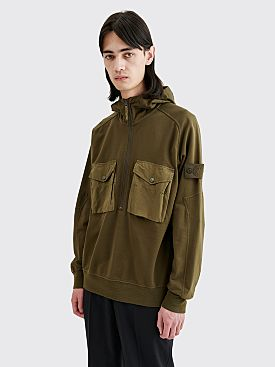 Stone Island Ghost Hooded Half Zip Sweatshirt Military Green