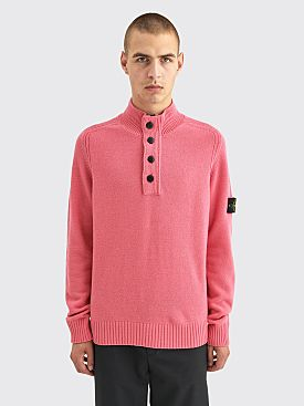 Stone Island Button Half Zip Knit Sweater Fuchsia
