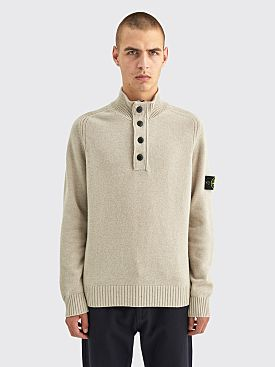 Stone Island Button Half Zip Knit Sweater Dove Grey