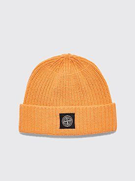 Stone Island Knitted Wool Beanie Orange