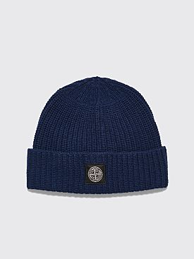Stone Island Knitted Wool Beanie Navy