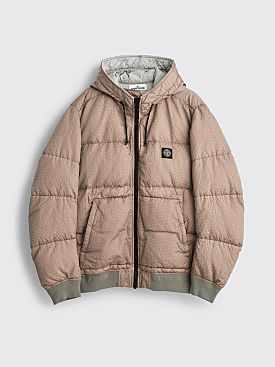 Stone Island Seersucker Nylon Down Jacket Pearl Grey