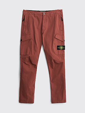 Stone Island Stretch Gabardine Cargo Pants Dark Burgundy