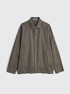Stone Island Ghost Cotton Wool Zip Overshirt Dark Grey