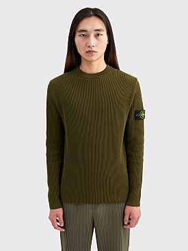 Stone Island Crewneck Rib Knit Sweater Olive
