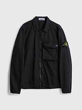 Stone Island GD Brushed Cotton Zip Overshirt Black
