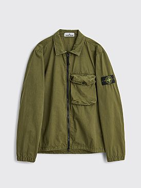 Stone Island GD Brushed Cotton Zip Overshirt Olive