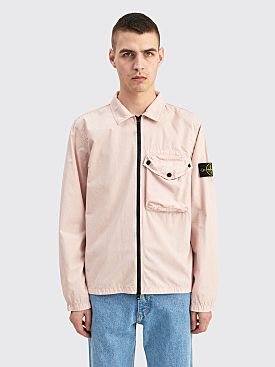 Stone Island GD Brushed Cotton Zip Overshirt Antique Rose