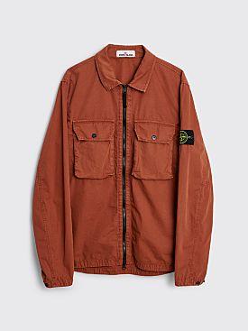 Stone Island GD Brushed Cotton Two Pocket Zip Overshirt Brick Red