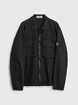 Stone Island GD Brushed Cotton Two Pocket Zip Overshirt Black