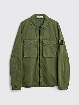 Stone Island GD Brushed Cotton Two Pocket Zip Overshirt Sage