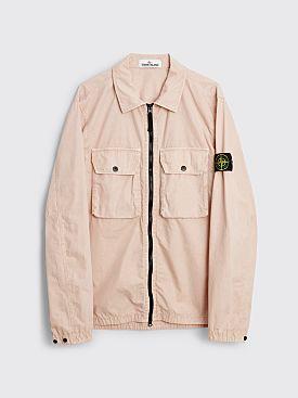 Stone Island GD Brushed Cotton Two Pocket Zip Overshirt Antique Rose
