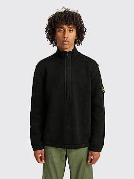 Stone Island Knit Half-Zip Wool Sweater Black