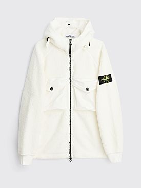 Stone Island Polar Fleece Zip Hooded Sweatshirt White
