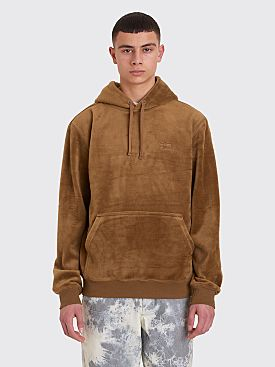 Stüssy Hooded Pile Fleece Sweatshirt Brown