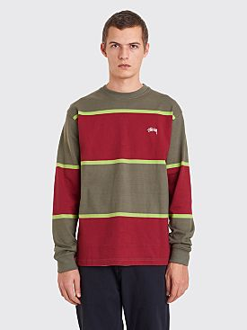 Stüssy Jeromy Stripe Sweater Green / Red