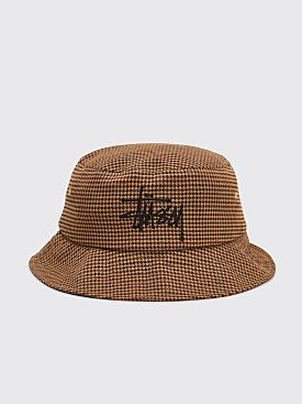 Stüssy Big Logo Bucket Hat Checkered Camel