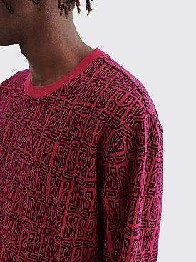 Stüssy Bali Long Sleeve Crewneck Sweatshirt Maroon