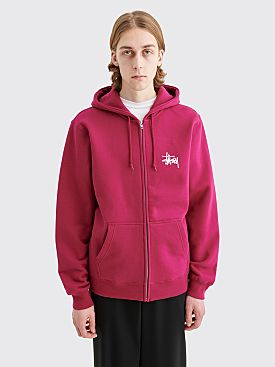 Stüssy Logo Hooded Zip Sweatshirt Wine