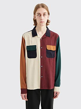 Stüssy Color Block Rayon Shirt Burgundy / White