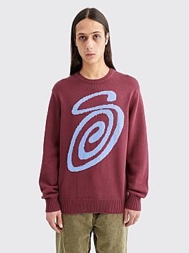 Stüssy Curly S Knit Sweater Burgundy