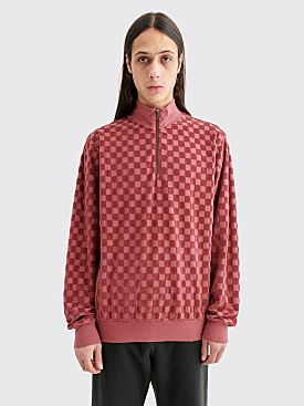 Stüssy Mock Zip Sweater Checkered Maroon