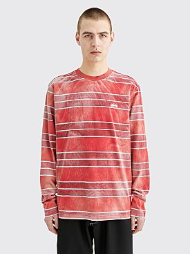 Stüssy LS T-shirt Bleach Stripe Red