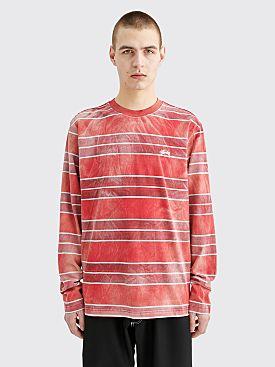 Stüssy LS T-shirt Bleach Stripe Red