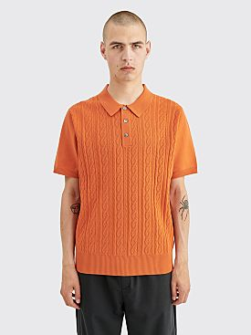 Stüssy Cable Logo Polo Shirt Rust