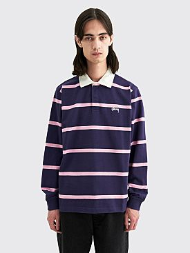 Stüssy Hill Stripe LS Rugby Shirt Navy