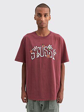 Stüssy Flower Collegiate Pigment Dyed T-shirt Wine