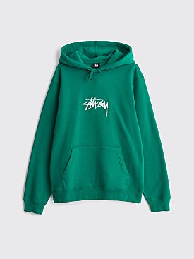Stüssy Stock Logo Hooded Sweatshirt Dark Green