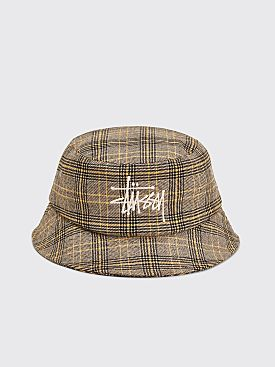 Stüssy Big Logo Plaid Bucket Hat Off White