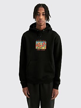 Stüssy Irises Embroidered Hooded Sweatshirt Black