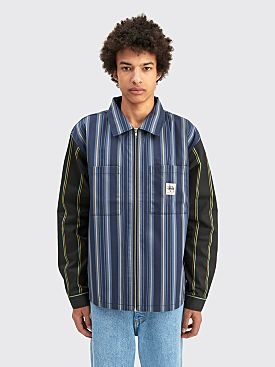 Stüssy Mix Stripe Zip Up Work Ls Stripe