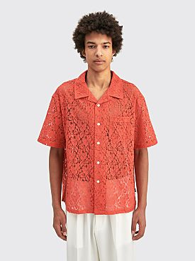 Stüssy Floral Pattern Lace Shirt Orange