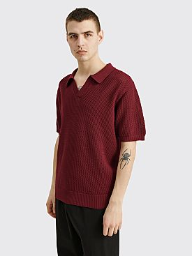 Stüssy Cable Mesh Short Sleeve Polo Maroon