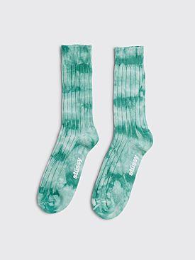 Stüssy Dyed Ribbed Crew Socks Green