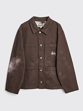 Stüssy Spotted Bleach Chore Jacket Brown