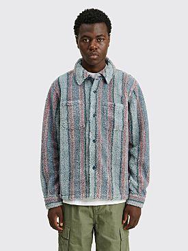 Stüssy Stripe Sherpa Shirt Blue