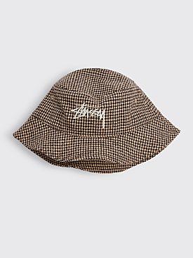 Stüssy Wool Check Big Stock Bucket Hat Brown