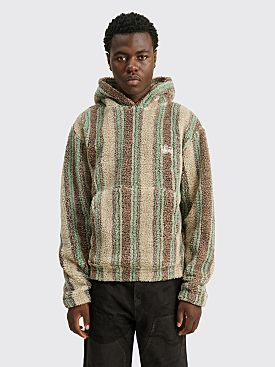 Stüssy Stripe Sherpa Hoodie Tan