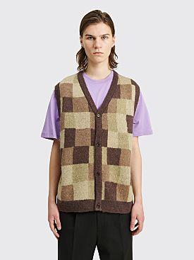 Stüssy Wobbly Check Sweater Vest Brown