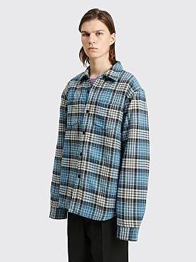 Stüssy Quilted Lined Plaid Jacket Blue