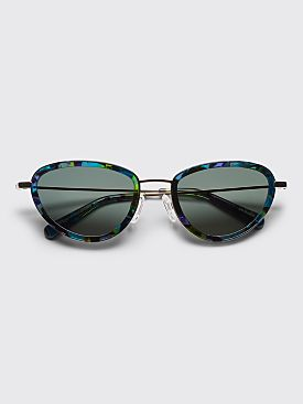 Sun Buddies Left Eye Sunglasses Gold / Aurora Borealis