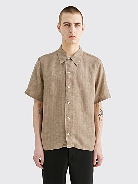 Sunflower Space Linen Shirt Houndtooth Brown